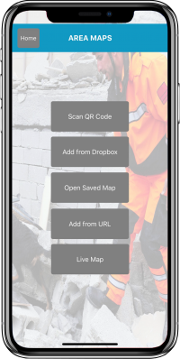 Disaster Surveyor Map Options screen