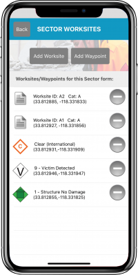 Disaster Surveyor Saved Worksite Triage and Waypoint icons to Sector Assessment screen